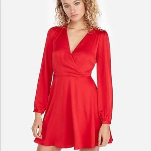 NWT Long Sleeve Surplice Fit And Flare Red Dress